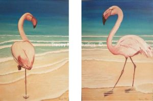 Flamingos on the Beach 1&2